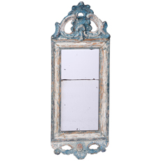 A Swedish Rococo Period Mirror with Traces of the Original Blue Paint and Gilt, Circa 1780