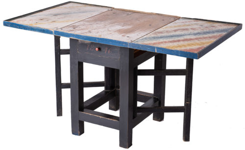 A Swedish Folk Art Drop-Leaf Work Table with Colorful Original Painted Surface, Dated 1846
