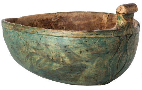 An Oval Blue Painted Swedish Bowl with Carved Handle, Dated 1832