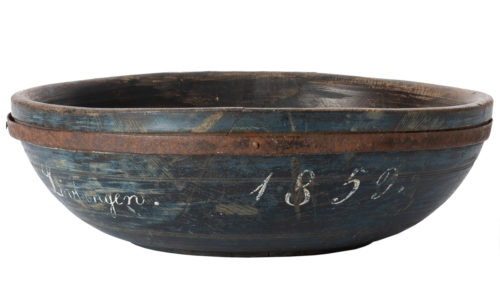 A Swedish Wooden Bowl in Original Blue Paint Dated 1859
