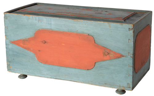 A Swedish Folk Art Hat Box in Original Blue and Coral Paint, Circa 1818