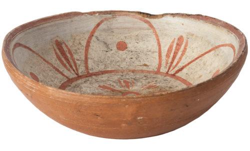 swedish antique wooden bowl floral design