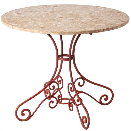 A French Garden Table with Antique Wrought Iron Base circa 1900