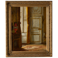 A French Oil on Canvas Painting of an Interior Scene Signed and Dated 1912