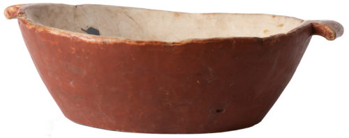 A Swedish Storage Bowl in Dark Red Orange Paint, Circa 1880