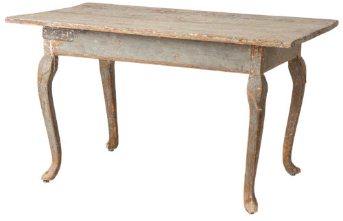 A Large Swedish Rococo Period Table in Original Green Paint, Circa 1760