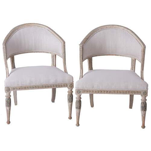 Barrel Back Gustavian Chairs