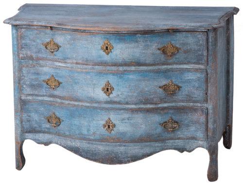 A Blue Swedish Rococo Period Three Drawers Chest, Circa 1760