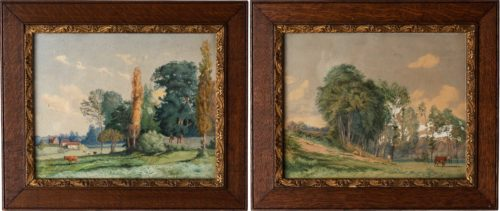 Pair of French Watercolors Depicting Country Scenes, Circa 1908 and 1910