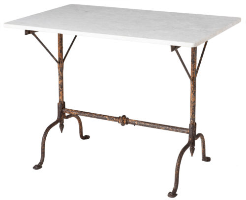 A French Wrought Iron Garden Table with Marble Top, Circa 1890