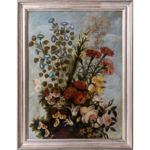 A French Oil on Canvas Painting of Garden Flowers, Circa 1900