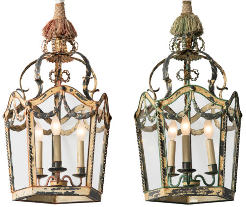 A Pair of Painted Tole Austrian Lanterns from Salzburg, Circa 1890