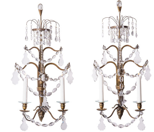 A Pair of Swedish Baltic Doré Bronze and Crystal Ram's Head Sconces, Circa 1900