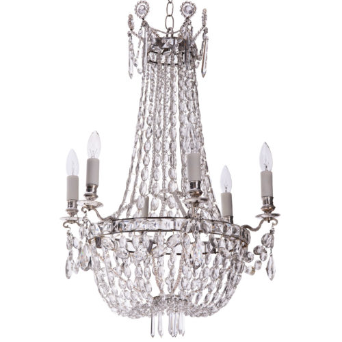 A French Crystal Six Light Chandelier, Circa 1900