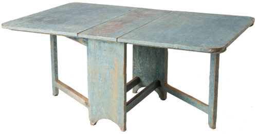 A Swedish Slagbord Drop-leaf Table with Original Blue Paint, Circa 1820