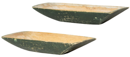 An Unusual Pair of Trough Bowls with Green Paint, Circa 1860