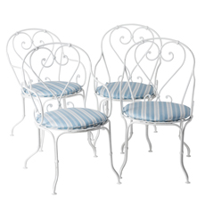 A Set of Four French Wrought Iron Armchairs, Circa 1900