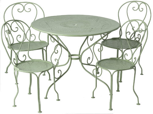 An Early 20th Century French Five Piece Wrought Iron Garden Set
