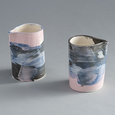 frances palmer pottery colored hand pitchers
