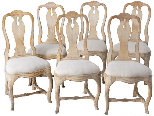A Set of Six Swedish Stockholm Made Dining Chairs, Circa 1760-1770