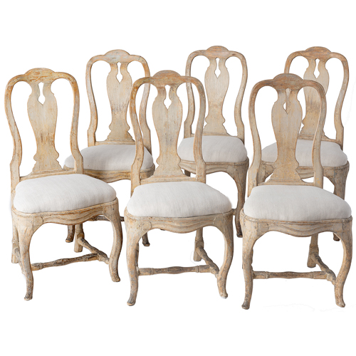 Six rococo dining chairs