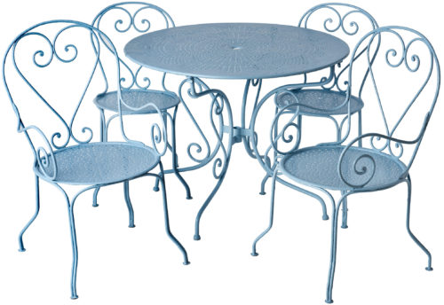 Early 20th Century French Five Piece Wrought Iron Garden Set in Blue