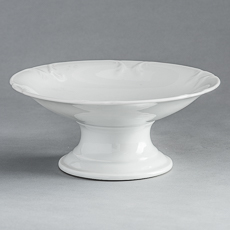 D-1529_Ironstone Footed Dish with Decorative Edge