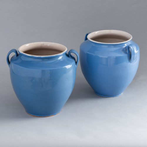 Pair of French Blue Amphora Pots