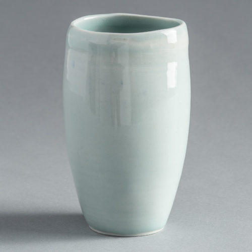Frances Palmer Hand Thrown Celadon Glazed Tulip Vase