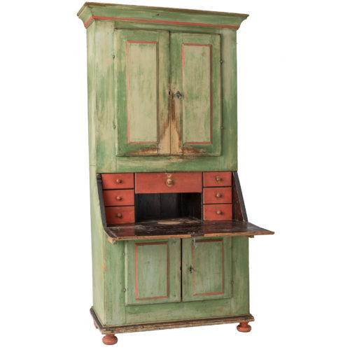 A Swedish Two-Part Secretary from Jämtland in Original Green and Red Paint Circa 1820