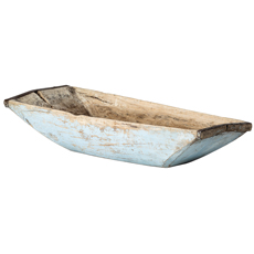 An Early 19th Century Large Swedish Trough Bowl with Original Blue Paint