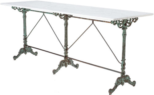 A French Long Marble Top Bistro Table in Original Green Paint, Circa 1900
