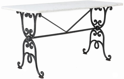 An Early French Cast Iron Table from the Late 19th Century with Marble Top