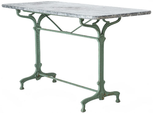 A French Art Nouveau Table in Old Green Paint with Grey Marble Top Circa 1920