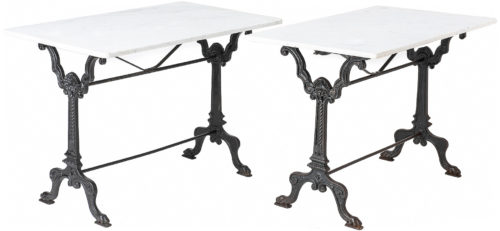 A Pair of French Marble Top Tables with Ornate Bases, Circa 1900