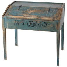 A Swedish Writing Desk in Original Blue Paint, Dated 1813