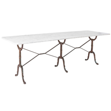An Extraordinary Early 20th Century Cast Iron French Bistro Table with Large Marble Top