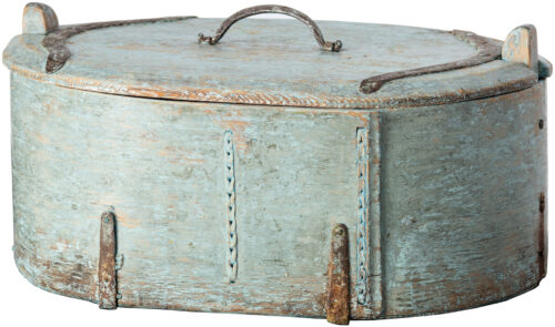 "A Swedish ""Svepask"" Box in Original Blue Paint, circa 1870"