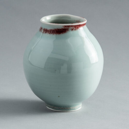 FP-36 High Fire Porcelain Celadon Vase with Blood Red Rim