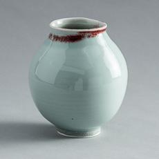 FP-36 High Fire Porcelain Celadon Vase with Blood Red Rim