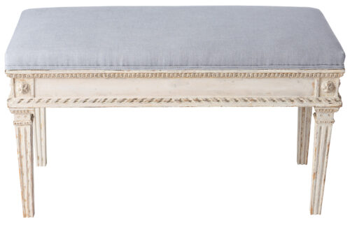 A Swedish Gustavian Style Bench in Cream Paint with Grey Linen, Circa 1880