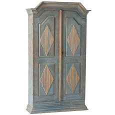 A Gustavian Period Cabinet with Coral and Blue Diamond Carvings, Circa 1790