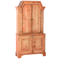 A Cupboard from Jämtland Sweden in Original Coral Paint, C. 1810