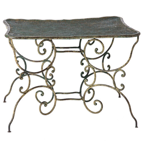 French Wrought Iron Table with Pierced Top in an Unusual Shape C. 1890