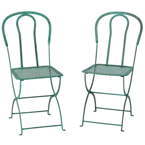 An Early 20th Century Pair of Parisian Chairs in Green Paint