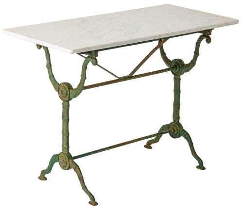A French Marble Topped Bistro Table with Faux Bamboo Base C. 1890