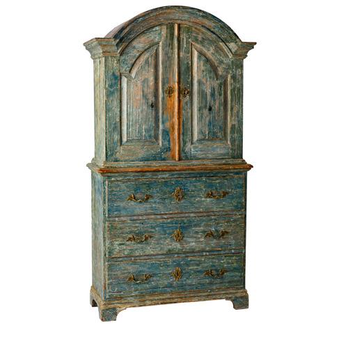 Blue Diminutive Swedish Antique Cupboard