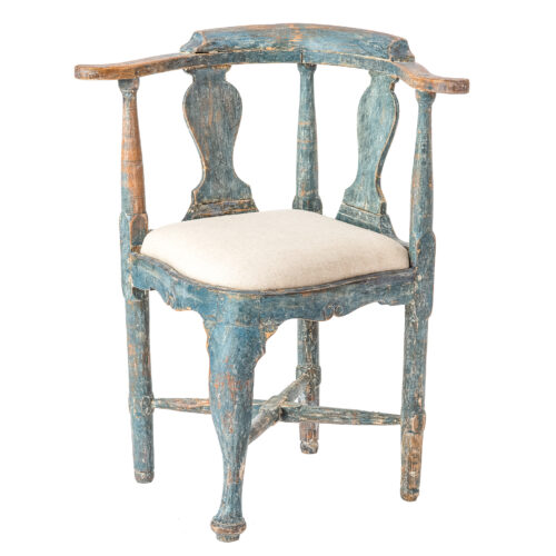 "Swedish Rococo Period ""Hörnstol"" or Corner Chair in Original Blue Paint C 1770"