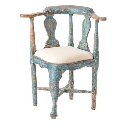 Blue Rococo Corner Chair