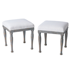 A Pair of Swedish Gustavian Period Footstools in Original Blue Grey Paint C. 1800